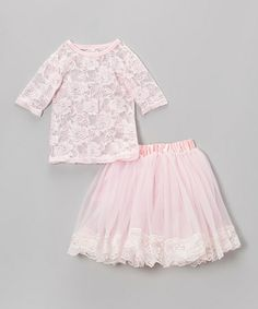 Take a look at this Pink Sheer Lace Top & Skirt - Infant, Toddler & Girls by Royal Gem on #zulily today!