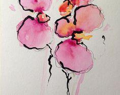 ORIGINAL WATERCOLOR Watercolour postcard picture art Orchid flowers Watercolour