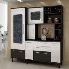 Cozinha Compacta Palmeira Tâmara X com 4 Peças - Preto/Ciliégio - Cozinha Compacta no CasasBahia.com.br
