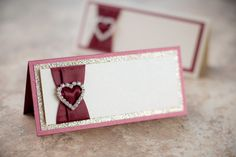 Blank Triple-Layered Heart Bling & Satin Place by PennyAnnDesigns