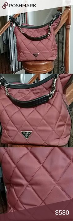 Prada bag (price REDUCED) Used gently. Clean inside.zippered. Iwith black edging.  . Lined. Carry or shoulder bag.minimal signs of wear. N sign of being kept in closet. Prada Bags Shoulder Bags
