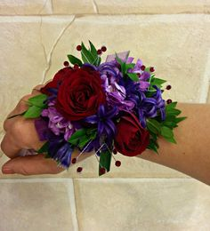 Purple and Red 'Designer's Choice' Prom Wrist Corsage.  Created by Lexington…