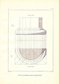 Architectural Print Drawing of the Shadow of theTuscan Column Base, Vignola, Steel Engraving 1920s