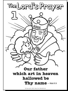 our father colouring page sunday school prayer