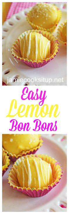 Easy Lemn Bon Bons by Jamie Cooks It Up http://jamiecooksitup.net/2015/06/easy-lemon-bon-bons/
