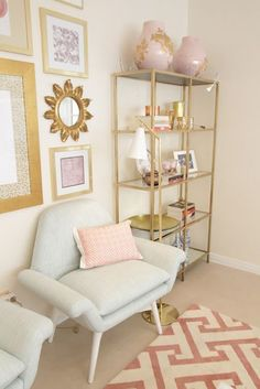 How cute are these gold shelves. such a great Ikea hack. Started with the Vittsjo units - 70 bucks