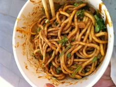 Traditional Wuhan food,  Hot Dry Noodles Delicious and cheap food.