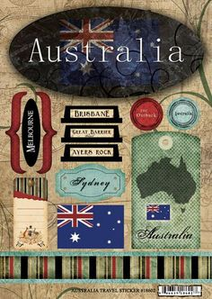 Australia Travel Scrapbooking Stickers