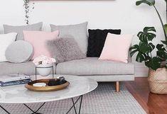 Mármore na decoração - Luiza Gomes Scandinavian Interior, Scandinavian Design, Unique Lamps, Color Rosa, Home Interior Design, House Tours, Home Art, Love Seat, Living Room