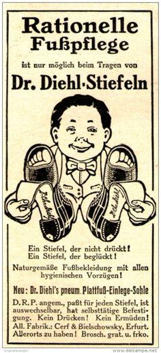 Original-Werbung/ Anzeige 1910 - DR. DIEHL STIEFEL / CERF & BIELSCHOWSKY - ERFURT - ca. 45 x 100 mm