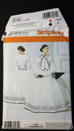 Up for your consideration is this uncut Fashion Historian simplicity pattern.  Style - 3791 Size - KK 8-14 Pattern Civil War Dress  The patterns envelope may have some damage.