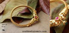 Latest Kada Designs, Kada bangle design Gold Bangles Design, Gold Earrings Designs, Gold Jewellery Design, Gold Jewelry, Gold Designs, Designer Jewelry, Gold Jhumka Earrings, Jewelry Patterns, Fashion Jewelry
