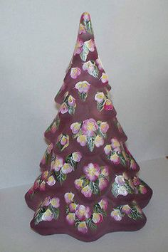 Fenton Pink Satin Christmas Tree  Hand Painted Flowers  One of a Kind !  in Pottery & Glass, Glass, Art Glass, North American, Fenton, Figurines | eBay