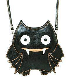 "Cute Little Spooky Vampire Bat Bag Purse - 26"" Adjustable Strap Drop (Detachable) - Zip Top Closure - 1 Back pocket. - 2 Pouch Pockets Inside. - Premium vinyl vampire bat bag. - Vinyl material with in"