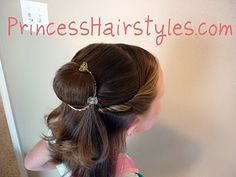 Beauty and the Beast Belle Hairstyle-Now that I had to chop 14 inches off my princess's hair, I have to re-think her flower girl hair do.... i think this one will work perfectly.  Now I'm excited again!