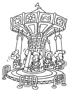 Kleurplaat In de zweefmolen - Kleurplaten.nl Cartoon Coloring Pages, Colouring Pages, Coloring Sheets, Rainy Day Activities, Kids Learning Activities, Teaching Ideas, Fair Rides, Park Pictures, Amusement Park