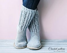 Crochet pattern: women boots with rope soles,soles pattern included,all women si. Crochet Crafts, Crochet Projects, Free Crochet, Knit Crochet, Crochet Rope, Crochet Boots, Crochet Slippers, Crochet Clothes, Loafer Slippers