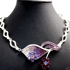 Violet Flower Leaves Crystal with Shiny Chrome Plating Necklace Set NS2265B