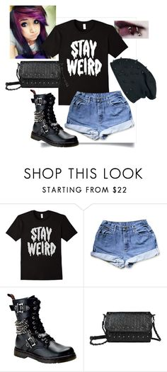 """""""stay weird"""" by summersunflower7 ❤ liked on Polyvore featuring Demonia, emo, Punk, alternative and denimshorts"""
