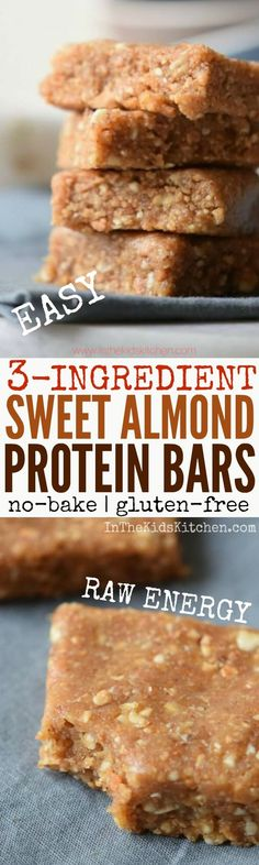 Curb hunger and fuel up on healthy energy with this delicious Homemade Protein Bar recipe. An EASY, gluten free snack that's no-bake and only 3 ingredients!