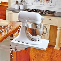 Under-counter pop-up stand mixer - no more lugging that thing....I would do it with the food processor and the blender too personally...GENIUS!!