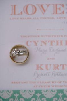 circle diamond + halo engagement ring