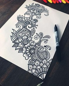 🖊 Just a lil doodle with my sharpie and artline fineliner 😊✨ - Art zentangle Hey guys! 🖊 Just a lil doodle with my sharpie and artline fineliner 😊✨ Doodle Art Drawing, Zentangle Drawings, Cool Art Drawings, Pencil Art Drawings, Art Sketches, Doodles Zentangles, Flower Drawings, Simple Sketches, Drawing Drawing
