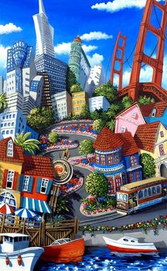 The art of whimsical paintings City by the Bay by Miguel Freitas Art Chicano, Art Fantaisiste, Illustration Art, Illustrations, Art Sculpture, Naive Art, Art For Art Sake, Whimsical Art, Amazing Art