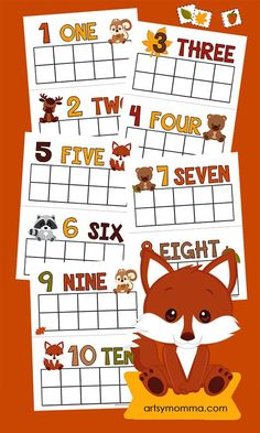 Printable Fall Counting Cards - Preschool Math