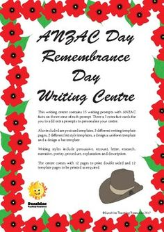 This writing centre contains 15 writing prompts with ANZAC facts on the reverse of each prompt. There a 3 extra fact cards for you to add extra prompts to personalise your centre. Also included are postcard templates, 3 different writing template pages, 2 different list style templates, a design a uniform template and a design a hat template. Hat Template, Writing Template, Postcard Template, Templates, Remembrance Day, List Style, Writing Prompts, Teaching Resources, Centre