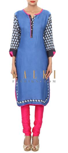 Buy Online from the link below. We ship worldwide (Free Shipping over US$100) Price- $39 Click Anywhere to Tag http://www.kalkifashion.com/blue-kurti-embellished-in-printed-placket-only-on-kalki.html