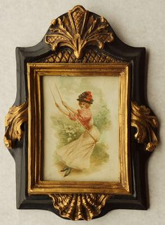 CM112 Print Lady on Swing in Ornate Frame DSC04127