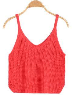 Red Spaghetti Strap Knit Crop tank