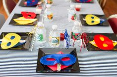 Super Hero birthday party table setting by Worthington Weddings & Events     [Photography c/o Molly Dues Photography]  Keywords: #superheroweddings #jevelweddingplanning Follow Us: www.jevelweddingplanning.com  www.facebook.com/jevelweddingplanning/