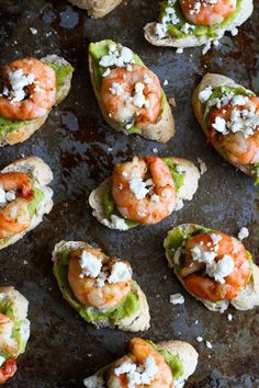 Easy Guacamole & Spiced Shrimp Crostini With Whole Grain Baguette, Large Shrimp, Olive Oil, Ground Cumin, Salt, Ground Pepper, Lime, Guacamole, Feta Cheese Crumbles