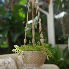 Honeycomb Hanging Planter - Macrame - Hand Carved - Pottery - Handmade Beads - Ceramic beads by Mudhavi on Etsy