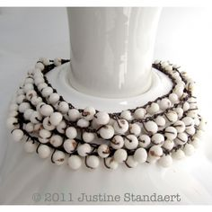 white bead necklace - 5 strands