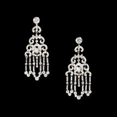 Cartier platinum and diamond 'Chandelier' earrings - Harry Fane Vintage Cartier Head Chains, Body Chains, Cartier Earrings, Diamond Chandelier Earrings, Jewelry Design Drawing, Gold Pearl, Belly Button, Designs To Draw, Metals