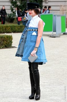 Miroslava Duma in denim chanel Charismatic Fashionista