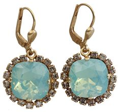 Catherine Popesco Goldtone Cushion Crystal Border Earrings, Pacific Blue Shade 4537G. Antiqued goldtone leverback wire earrings with pacific blue and shade crystals. Earrings are approx. 1 1/4 inch long (top of wire dangle to bottom of drop) and 5/8 inch wide. Drop itself is approx. 5/8 inch long. NOTE: Image is often enlarged to show detail - please refer to product dimensions for actual size. Due to the handcrafted nature of this product, each item may vary slightly. Every piece uses…