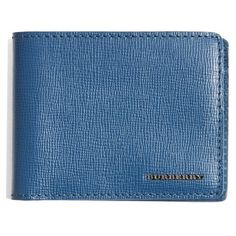 Men's Burberry 'New London' Bifold Calfskin Leather Wallet ($197) ❤ liked on Polyvore featuring men's fashion, men's bags, men's wallets, mineral blue, mens slim front pocket wallet, mens wallets, mens front pocket wallet, burberry mens wallet and mens slim wallets
