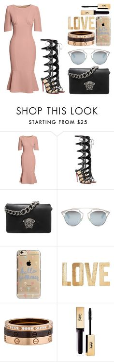"""""""Be loved."""" by alexbtni ❤ liked on Polyvore featuring Canvas by Lands' End, Christian Louboutin, Versace, Christian Dior, Agent 18, PBteen and Cartier"""