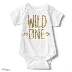 Wild One - Gold Glitter - Short Sleeve Infant Creeper