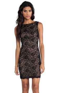 Haute Hippie Lace Dress in Black/Suntan