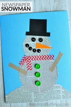This recycled newspaper snowman craft is simple for kids to make. Great winter kids craft, preschool craft and fun snowman craft for kids. Winter Activities For Kids, Winter Crafts For Kids, Winter Fun, Winter Theme, Art Activities, Art For Kids, Kids Crafts, Toddler Crafts, Arts And Crafts