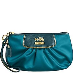 Gold and Blue Coach Wristlet