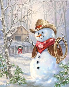 Western Cowboy Snowman boxed Christmas cards by artist Dona Gelsinger. Made in the USA on recycled paper. Christmas Scenes, Vintage Christmas Cards, Christmas Pictures, Christmas Snowman, Christmas Holidays, Christmas Crafts, Christmas Decorations, Christmas Ornaments, Snowmen Pictures