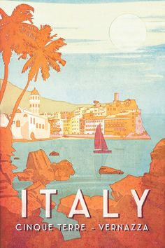Vintage style travel poster of Cinque Terre, Italy. A perfect gift for the world traveler. By artist Missy Ames Vintage style travel poster of Cinque Terre, Italy. A perfect gift for the world traveler. By artist Missy Ames Postcard Display, Diy Postcard, Postcard Wall, Postcard Template, Printable Postcards, Poster Art, Kunst Poster, Poster Prints, Cinque Terre