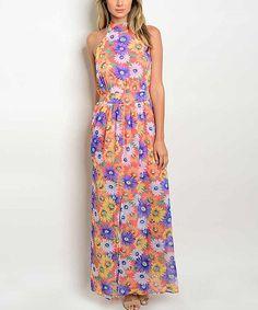 Coral & Lavender Floral Bow-Back Maxi Dress
