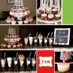 Hot Chocolate Bar and cupcakes Hot Chocolate Party, Cocoa Party, Chocolate Bars, Chocolate Dipped, Christmas Desserts, Christmas Treats, Christmas Foods, Holiday Treats, Christmas Eve